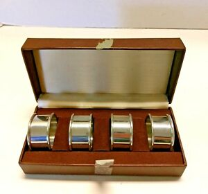 Vintage Set of 4 Pewter Napkin Rings Holders in Gift Box Table Setting