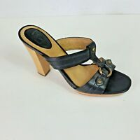 Frye Gerry Black Leather T Strap Slide Wood Platform Heels Sandals Shoe Women 9M