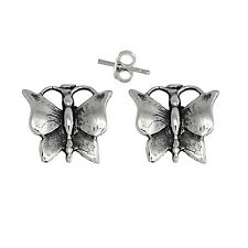 Butterfly Pin Earring Sterling Silver .925 Oxidized. | Made in USA