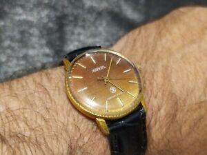 "Vintage  Mechanical  Soviet Watch Raketa ""Jeans"" AU gold USSR ☭Serviced☭"