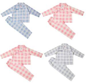 Boys Girls Baby Personalised Check Pyjamas Family Matching 6 Mths - 6 Yrs