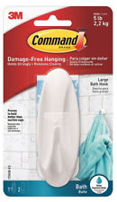 3M Command Large Bath Hook 1 Hook With 2 Strips - Damage Free Holds Up To 2.2Kg