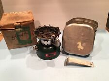 Vintage Coleman Camp Stove 502 w/ Storage/ Cook Kit Case Date 5- 64 With Handle