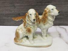 Vtg Porcelain Erphila Cocker Spaniels Dogs Made in Germany Pair Group Figurine