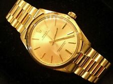 Rolex Oyster Perpetual Mens Solid 14K Yellow Gold Watch w/President Style Band
