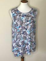 J.Jill Floral Large Sleeveless Gray Blue Linen Women's Top Shirt