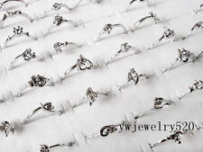 FREE Wholesale Lots 10pcs Crystal Of Rhinestone Silver Plated wedding Rings