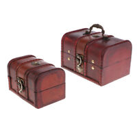 2X Vintage Wooden Jewelry Storage Box Handmade Treasure Case Home Decoration