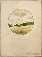 """T. Stoh, signiertes Aquarell, """"Landschaft am Schwedengraben bei Marktbreit"""" 1947"""