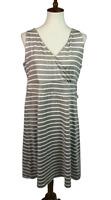 Eddie Bauer Women's Size XL Knit Striped Faux Wrap Sleeveless A-Line Dress Beige