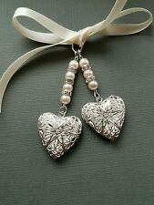 Wedding Bouquet Photo Charm Double Silver Filigree Locket with Pale Pink Pearls