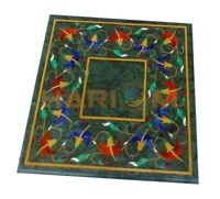 """18"""" Green Marble Coffee Side Table Top Carnelian Lapis Floral Inlay Decors B717"""