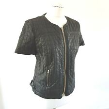 ZARA TRAFALUC Womens Black Quilted Faux Leather Jacket  Size L 12  UK