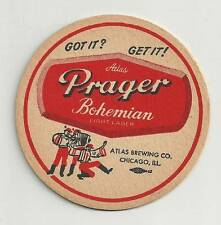 1962 Atlas Prager Bohemian Beer Vintage Coaster Atlas Brewing Co. Chicago