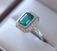 Vintage Jewellery Gold Ring Aquamarine White Sapphires Antique Deco Jewelry R1/2