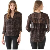 Joie Brown & Black Silk Adana Leopard Print Silk Long Sleeve Blouse Top XS