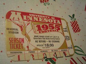 1955 Vintage University Of Minnesota Football Season Ticket, Memorial Stadium EX