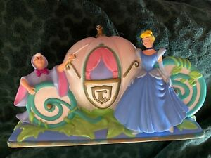 Disney Cinderella's Coach Bank Cinderella, Fairy Godmother, Jaq & Gus w/ Stopper