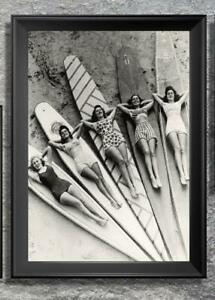 Stunning... Girls Laying on Surfboards at the Beach... Vintage 8x10 Photo Print