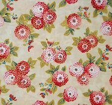 1/4YD SAKURA METALLIC SMALL ORIENTAL FLOWERS RED ROOSTER KHAKI FQ COTTON FABRIC