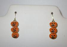 Pumpkins Earrings Halloween Gold Tone Orange Fish Hook Style Carved Smiles New