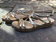Dune Gold Leather Low Heel Sandals, Size 4