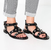 MCQ By Alexander McQueen Studded Solenie Gladiator Sandals In Black Size 38 US 8
