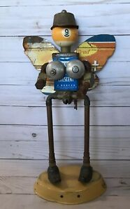 Nude Woman Outsider Industrial Upcycled Metal Art Sculpture Hardware Spice Fairy