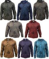 Men Hooded Acidwash Stripe Grandad Shirt,Light weight Festival hippy Blocked Top
