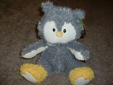 """Animal Adventure Gray Owl Plush White Yellow Stuffed Animal Toy 12"""" NWT RARE"""