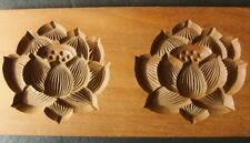 20ksg31 JAPANESE KASHIGATA WOOD CAKE MOLD TWO LOTUS FLOWERS HAND CARVED VINTAGE
