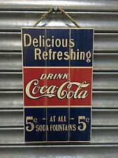 Coca-Cola Delicious & Refreshing Five Cents Wooden Sign