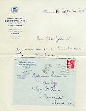 Dépt 37 - Tours - Lettre + Enveloppe à Entête du Grand Hotel des Négociants 1935