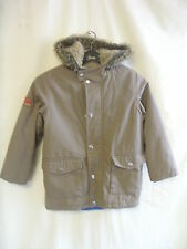 Girls Coat - Ladybird, age 6-7, light brown, padded, hooded, cotton mix - 7776