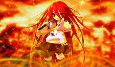 Sexy Red Headed Anime Girl with Sword in Flames Custom Playmat / Game Mat #162
