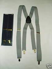 Suspenders Silver Grey Gray 1 1/4 Wide Elastic Braces