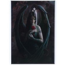 GOTHIC ANGEL HOLDING A RED ROSE  FRIDGE MAGNET BY ANNE STOKES