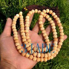 "35"" Carved Bone Lotus Meditation Mantra Tibetan Buddhist 108 Prayer Beads Mala"