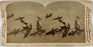 Underwood, Stéréo, wild men of Borneo in the Java sea Vintage stereo card,  Ti