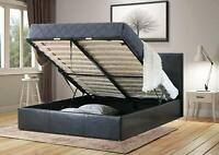 Ottoman Bed Black. Bed Frame With Storage and Mattress. Single 4Ft Double King