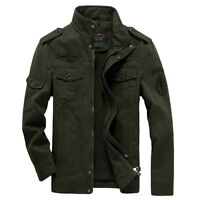 Mens Military Jackets Zip Up Air Force Cotton Coats Sports Heaveyweight MAN193