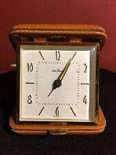 Seth Thomas Germany Travel Alarm Clock Leather Case Vintage 1940's