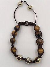 10mm Shamballa Beaded Adjustable Bracelet Genuine Tiger Eye.  Hand Set Crystals