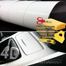"60"" x 60"" Premium Gloss White Carbon Fiber 4D Vinyl Film Wrap Air Bubble Free"