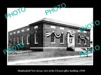 OLD LARGE HISTORIC PHOTO OF HADDONFIELD NEW JERSEY, POST OFFICE BUILDING c1930