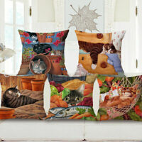 Home Decor Cotton Linen Car Bed Waist Cushion Square Pillow Cover Case Pet Cat