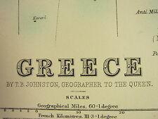 1896 LARGE VICTORIAN MAP ~ GREECE ARCADIA MOREA CYCLADES CORFU PAXO ACONIA