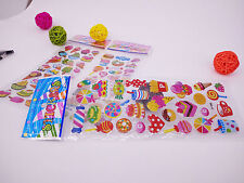 3 sheets Dessert hamburger Bubble stickers lot kids party Bag Fillers gift