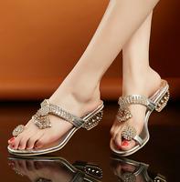 Womens Lady Ring Tassels Rhinestone Sandals Slipper Shoes Summer Pearls Low Heel