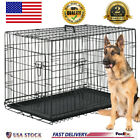 """Extra Large Dog Crate Kennel 48""""/42""""/36""""/30""""/24"""" Folding Pet Cage Metal US SHIP"""
